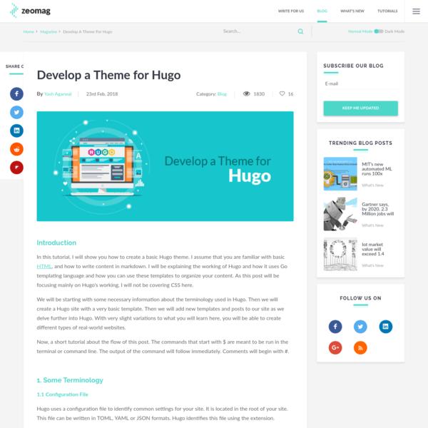 Develop a Theme for Hugo
