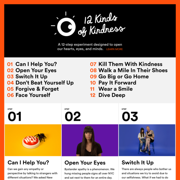 Two self-centered New Yorkers created their own 12-step program to become kinder, more empathetic people. As a resolution, they practiced this for 12 months. By Jessica Walsh & Timothy Goodman, creators of 40 Days of Dating.
