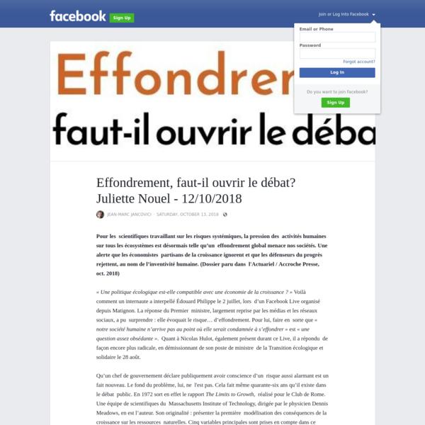 Effondrement, faut-il ouvrir le débat? Juliette Nouel - 12/10/2018
