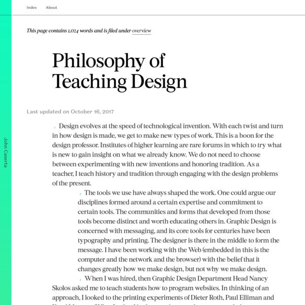 John Caserta Philosophy of Teaching Design