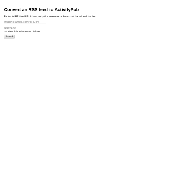 Convert an RSS feed to ActivityPub