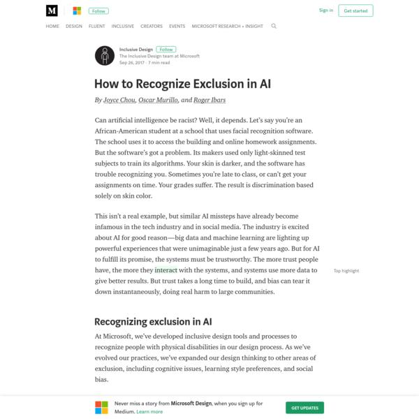 How to Recognize Exclusion in AI - Microsoft Design - Medium