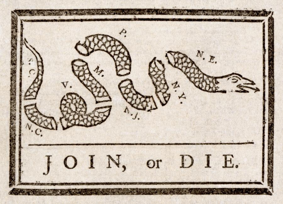 Join, or Die woodcut by Benjamin Franklin