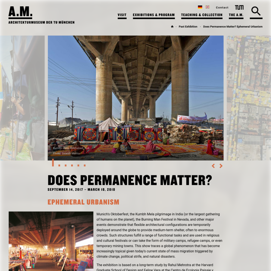 Does Performance matter? Ephemeral Urbanism. SEPTEMBER 14, 2017 - MARCH 18, 2018 - The exhibition is based on a long-term study by Rahul Mehrotra at the Harvard Graduate School of Design and Felipe Vera at the Centro de Ecologia Paisaje y Urbanismo in Santiago de Chile.