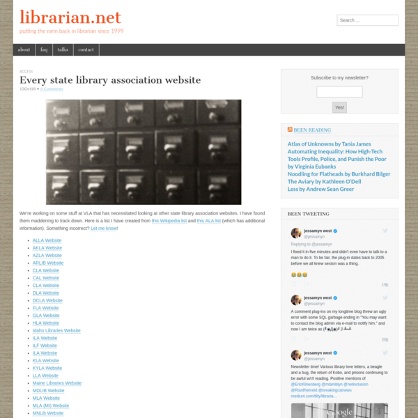 We're working on some stuff at VLA that has necessitated looking at other state library association websites. I have found them maddening to track down. Here is a list I have created from this Wikipedia list and this ALA list (which has additional information). Something incorrect? Let me know!
