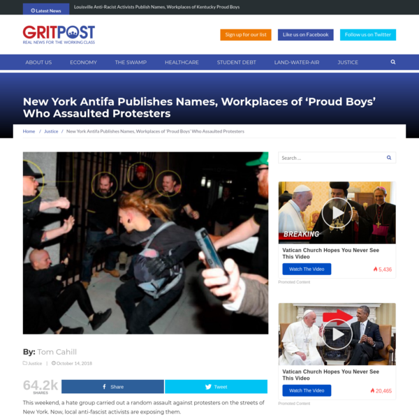 "This weekend, a hate group carried out a random assault against protesters on the streets of New York. Now, local anti-fascist activists are exposing them. On Sunday night, the Twitter account for New York City Antifa posted a detailed thread showing various photos of the people involved in the fracas that broke out following ""Proud Boys"" founder Gavin McInnes' speech at the Metropolitan Republican Club."