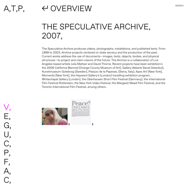 The-Speculative Archive-2007 | Art, Theory, Practice
