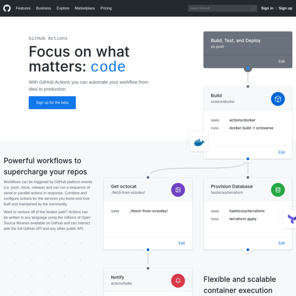Features * GitHub Actions
