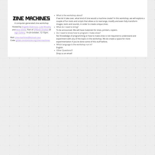 Zine Machines Workshop