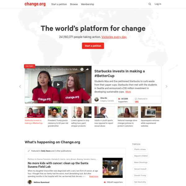 Change.org is the world's largest petition platform, using technology to empower more than 200 million users to create the change they want to see.