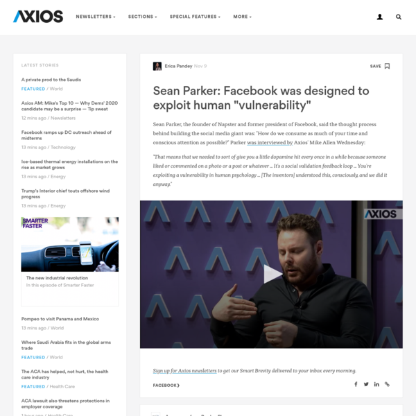 "Sean Parker: Facebook was designed to exploit human ""vulnerability"""