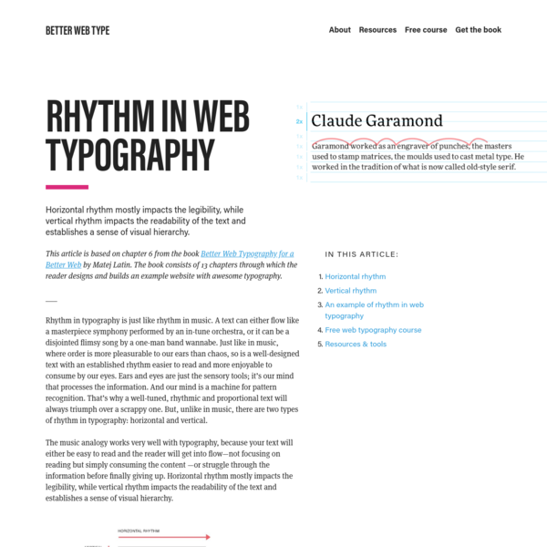 Horizontal rhythm mostly impacts the legibility, while vertical rhythm impacts the readability of the text and establishes a sense of visual hierarchy.