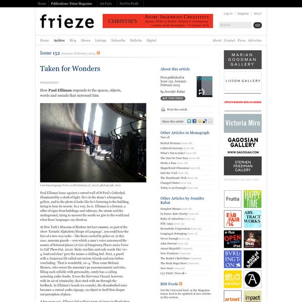 Frieze Magazine | Archive | Taken for Wonders