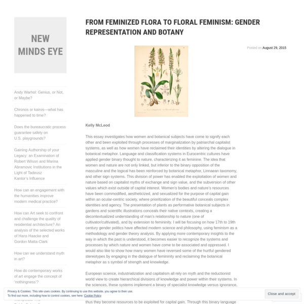 From Feminized Flora to Floral Feminism: Gender Representation and Botany