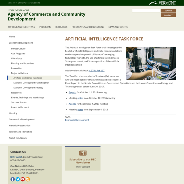 Artificial Intelligence Task Force   Agency of Commerce and Community Development