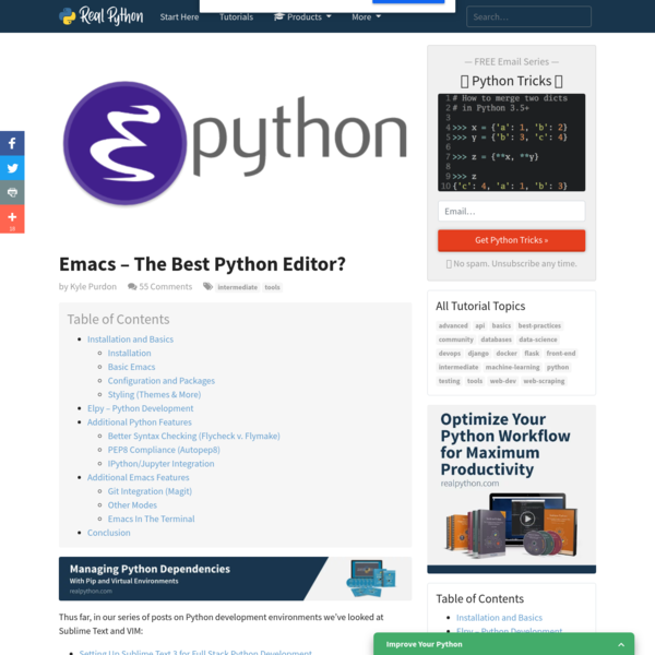 Thus far, in our series of posts on Python development environments we've looked at Sublime Text and VIM: In this post we'll present another powerful editor for Python development - Emacs.