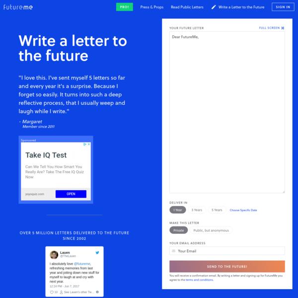 FutureMe: Write a Letter to your Future Self