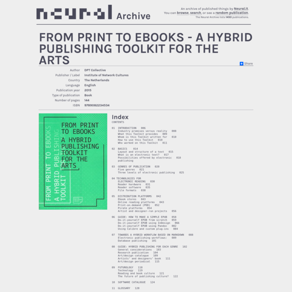 From print to Ebooks - A hybrid publishing toolkit for the arts