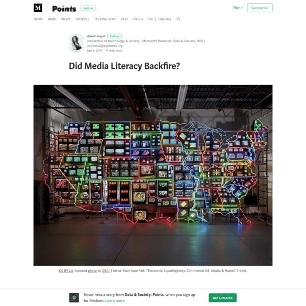 Did Media Literacy Backfire? - Data & Society: Points