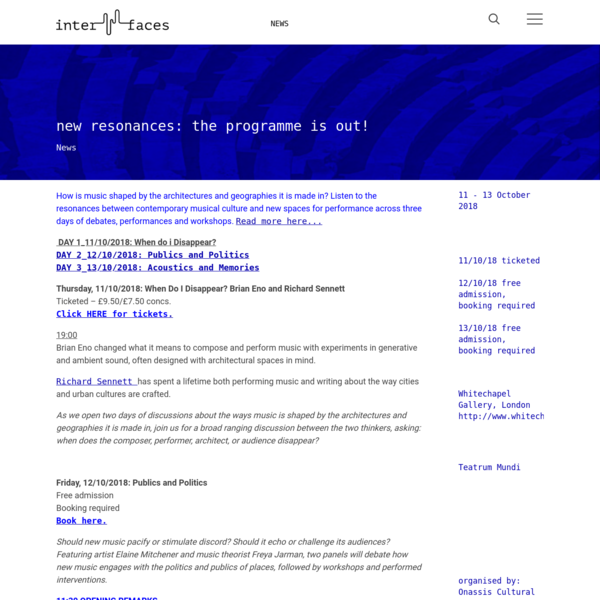 new resonances: the programme is out!