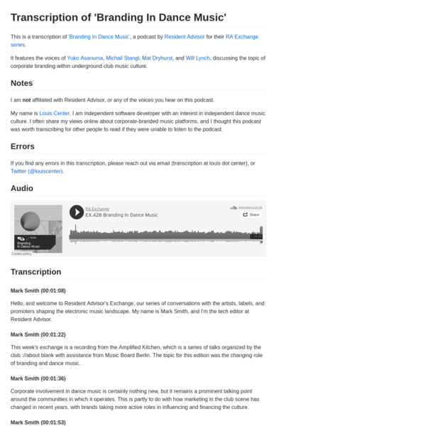 Transcription of Resident Advisor's Exchange podcast on the topic of corporate branding within underground club music culture.