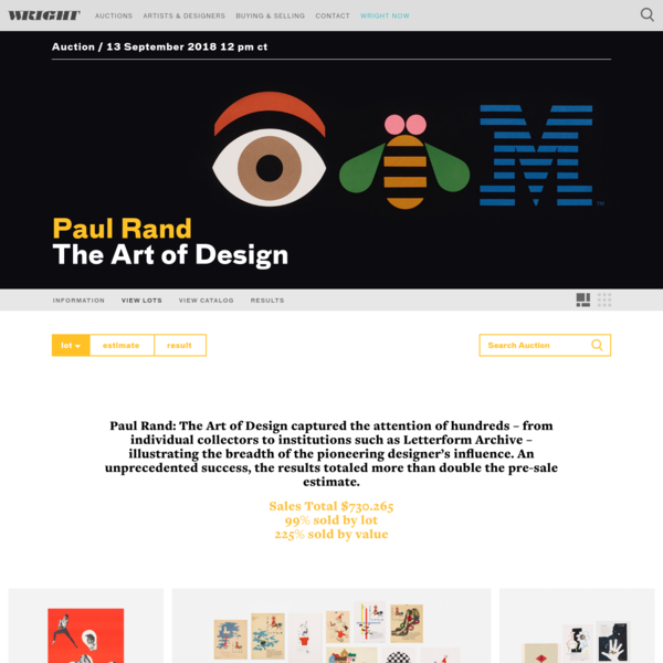 Paul Rand: The Art of Design, 13 September 2018 < Auctions | Wright: Auctions of Art and Design