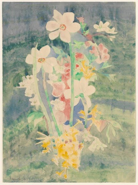 Narcissi Artist:Charles Demuth (American, Lancaster, Pennsylvania 1883–1935 Lancaster, Pennsylvania) Date:1917 Medium:Watercolor, graphite, and dry pigment on paper Dimensions:10 7/8 x 7 3/4 in. (27.6 x 19.7 cm) Classification:Drawings  MET: https://www.metmuseum.org/art/collection/search/488518