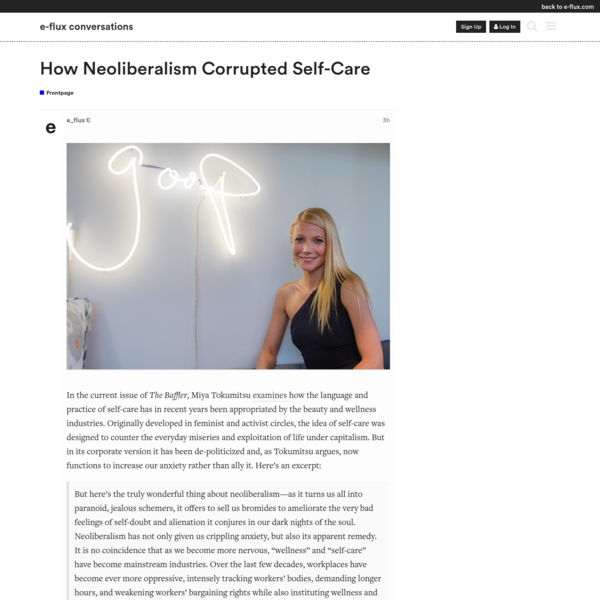 How Neoliberalism Corrupted Self-Care