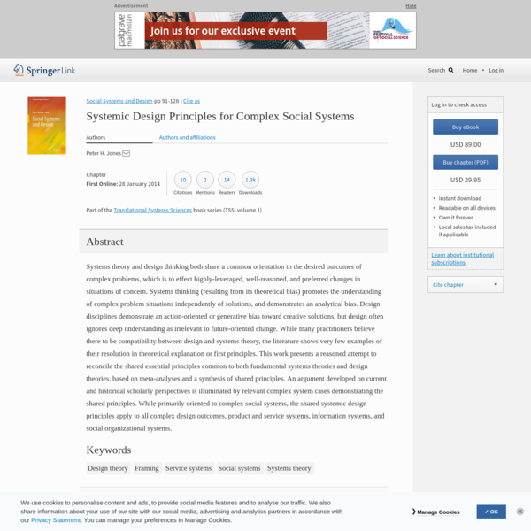 Systemic Design Principles for Complex Social Systems