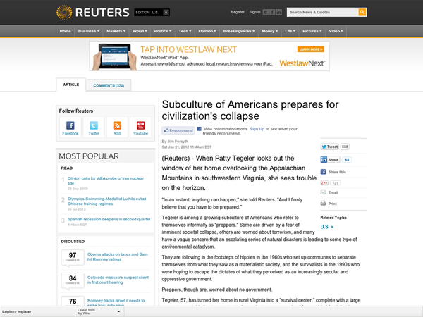 Subculture of Americans prepares for civilization's collapse