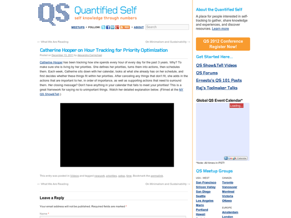 Catherine Hooper on Hour Tracking for Priority Optimization | Quantified Self