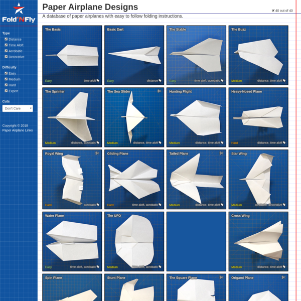 A database of paper airplane folding designs and instructions