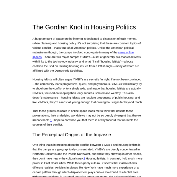 The Gordian Knot in Housing Politics