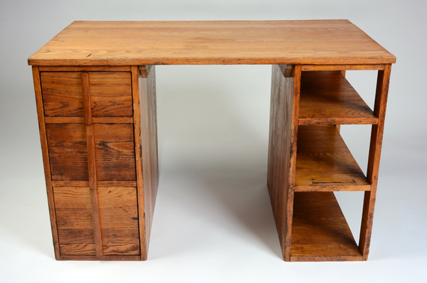 Josef Albers (designer), Desk for BMC Students, ca. 1939, Chestnut, other woods, and plywood, 29 x 44 x 26 inches. Black Mountain College Museum + Arts Center Collection. Gift of Peggy Barton French.  http://www.blackmountaincollege.org/selections-from-our-collection/