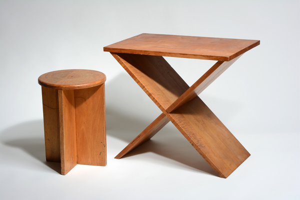 A. Lawrence Kocher, Stool and Side Table, 1942, 16.125 x 11.625 x 11.625 inches (stool) and 21 x 23.5 x 14 inches (table). Black Mountain College Museum + Arts Center Collection. Gift of Sandra Kocher.  http://www.blackmountaincollege.org/selections-from-our-collection/