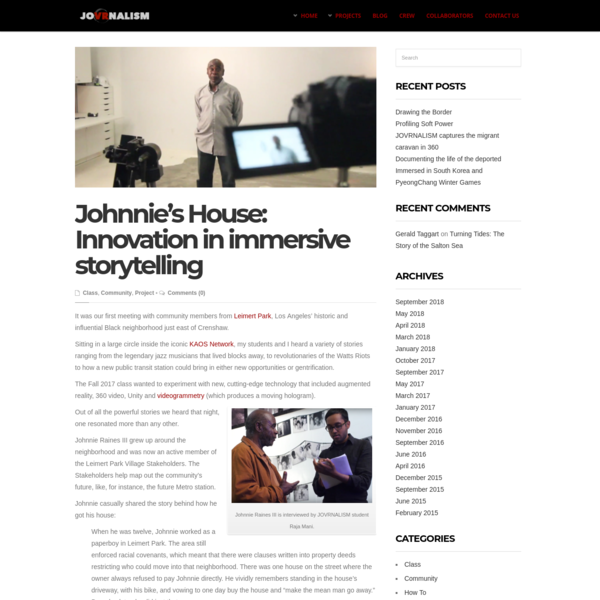 Johnnie's House: Innovation in immersive storytelling | JOVRNALISM | USC Annenberg project