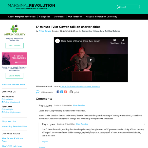 Tyler Cowen, Charter Cities (Marginal Revolution)