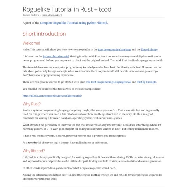 Roguelike Tutorial in Rust + tcod