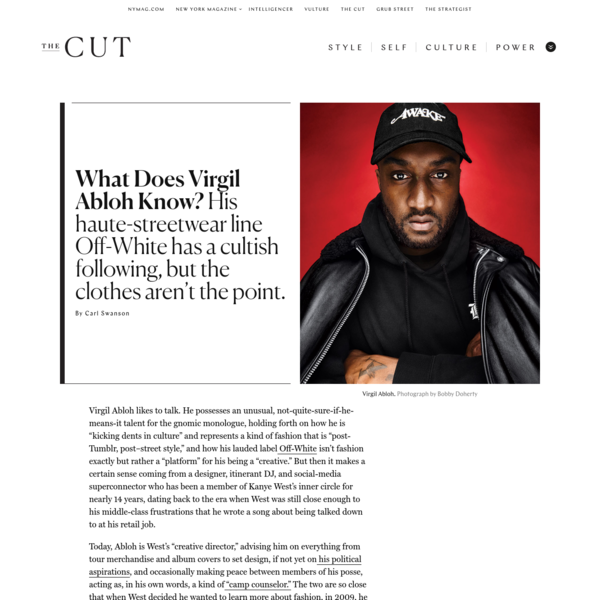 """Virgil Abloh likes to talk. He possesses an unusual, not-quite-sure-if-he-means-it talent for the gnomic monologue, holding forth on how he is """"kicking dents in culture"""" and represents a kind of fashion that is """"post-Tumblr, post-street style,"""" and how his lauded label Off-White isn't fashion exactly but rather a """"platform"""" for his being a """"creative."""""""