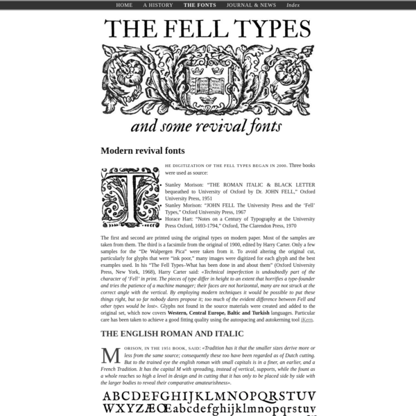 The Fell Types modern revival fonts realized by Igino Marini using iKern < The Fell Types
