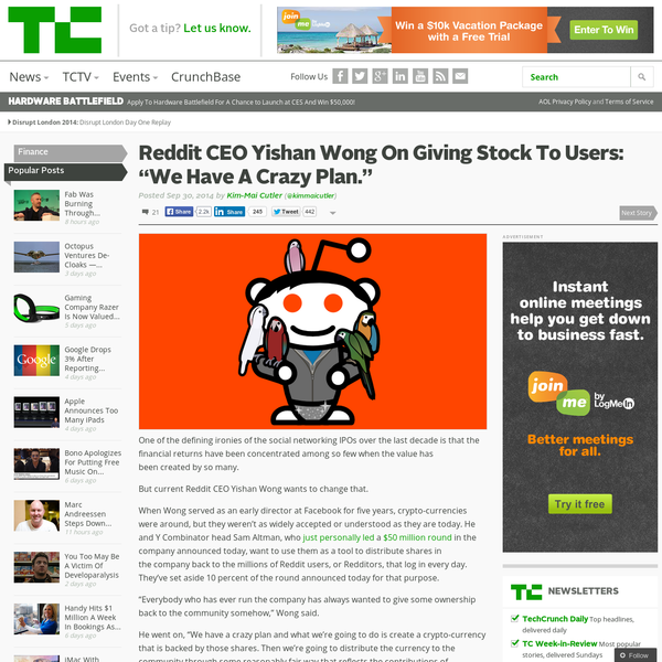 "Reddit CEO Yishan Wong On Giving Stock To Users: ""We Have A Crazy Plan."""