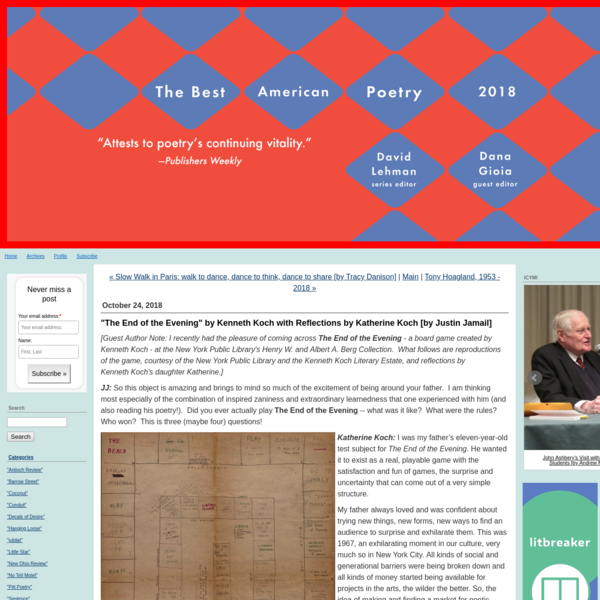 Guest Author Note: I recently had the pleasure of coming across The End of the Evening - a board game created by Kenneth Koch - at the New York Public Library's Henry W. and Albert A. Berg Collection.