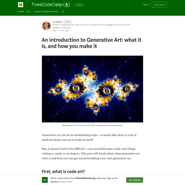 Generative art can be an intimidating topic-it seems like there is a lot of math involved, and art is tricky in itself! But, it doesn't have to be difficult-you can build some really cool things without a math or art degree.