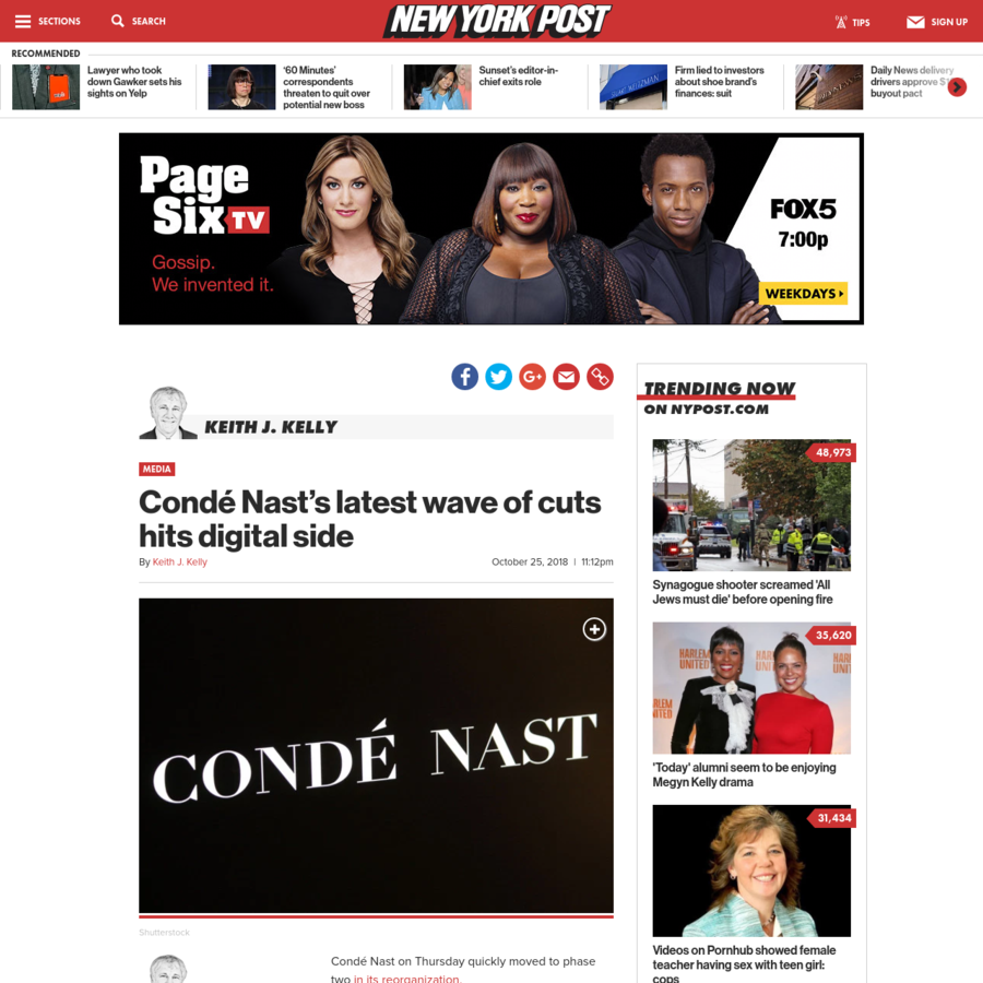 Condé Nast on Thursday quickly moved to phase two in its reorganization. Layoffs on the digital side of operations came as it works to integrate more of its domestic and international operations into one global tech team. There were no estimates on how many were let go in the process, although word circulated that audiovisual and tech support were hit.