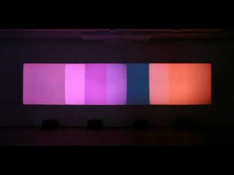 "Installation view of Paul Sharits, ""Shutter Interface,"" (1975, four-screen 16-mm loop projection with four separate sound tracks) at Greene Naftali Gallery, 2009. Courtesy of Greene Naftali, Anthology Film Archives, and Christopher Sharits/The Estate of Paul Sharits."
