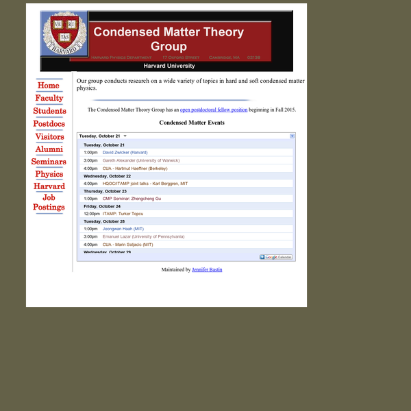 Condensed Matter Theory at Harvard University