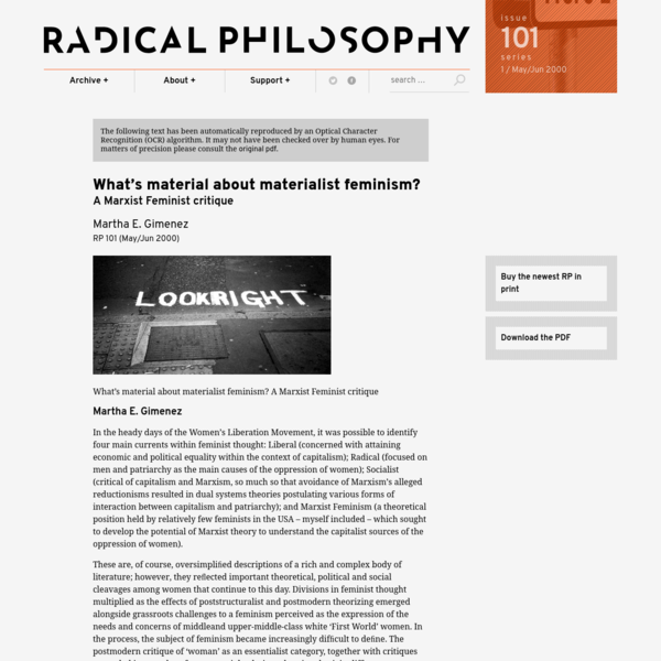 What's material about materialist feminism? – Radical Philosophy