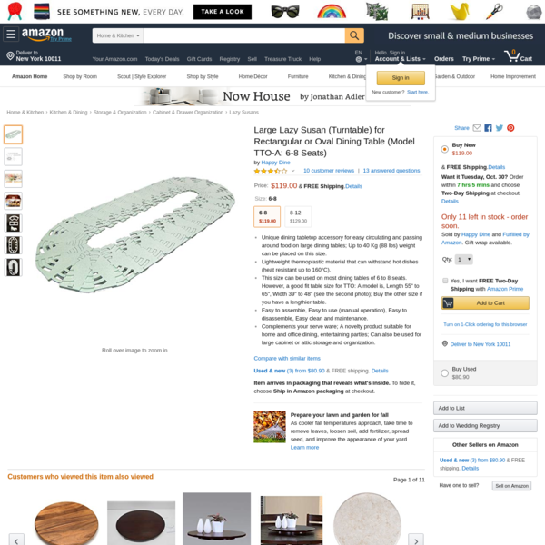 Large Lazy Susan (Turntable) for Rectangular or Oval Dining Table (Model TTO-A: 6-8 Seats)
