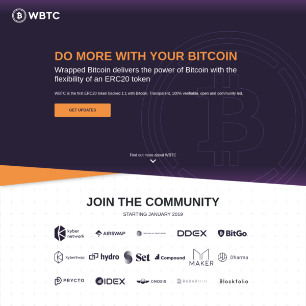 WTBTC Wrapped Bitcoin an ERC20 token backed 1:1 with Bitcoin