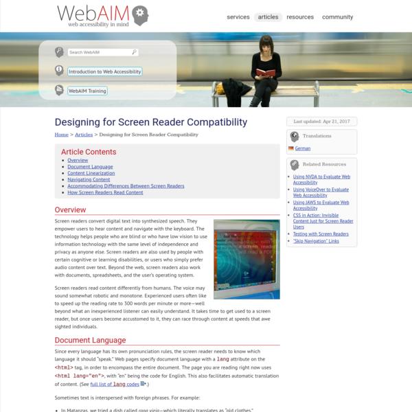 WebAIM: Designing for Screen Reader Compatibility